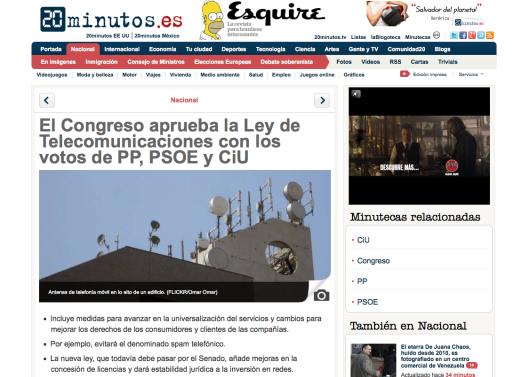 El Congreso aprueba la Ley de Telecomunicaciones con los votos de PP, PSOE y CiU - 20 Minutos
