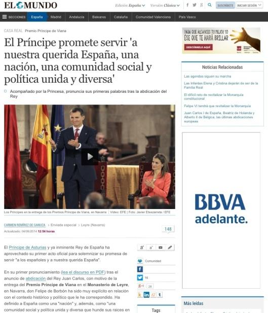El Príncipe promete servir 'a nuestra querida España, una nación, una comunidad social y política unida y diversa' - El Mundo